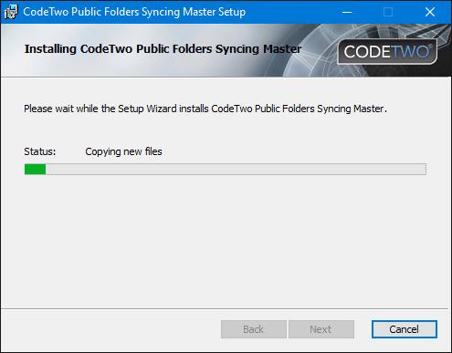 Installation of CodeTwo Public Folders - the progress bar