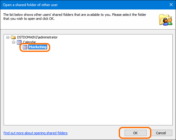 Select a calendar you want to open in your Outlook.