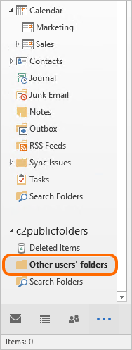 To check all opened calendars in Outlook go to the Other users' folders folder on the left pane.