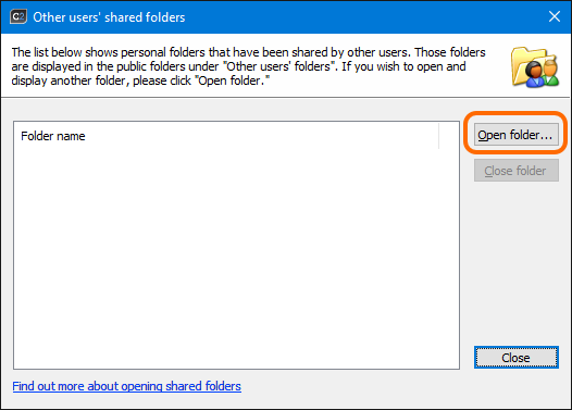 Click the Open folder button to open others' users folders.
