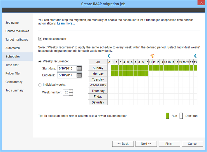 Schedule your IMAP migration to start and stop automatically