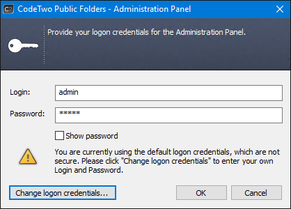 Set up a password for the Administration Panel of CodeTwo Public Folders.