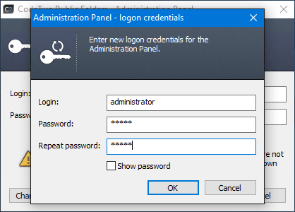Provide your own admin credentials you will use to log in to the Administration Panel of CodeTwo Public Folders.