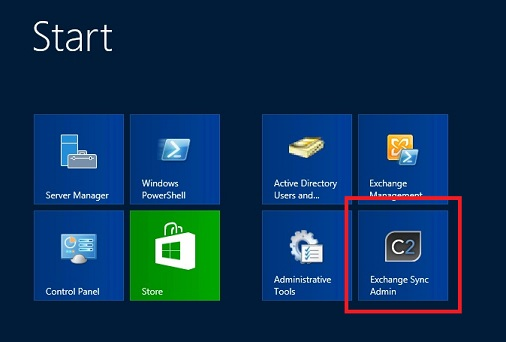 CodeTwo Exchange Sync tile in Windows Server 2012 running Exchange 2013