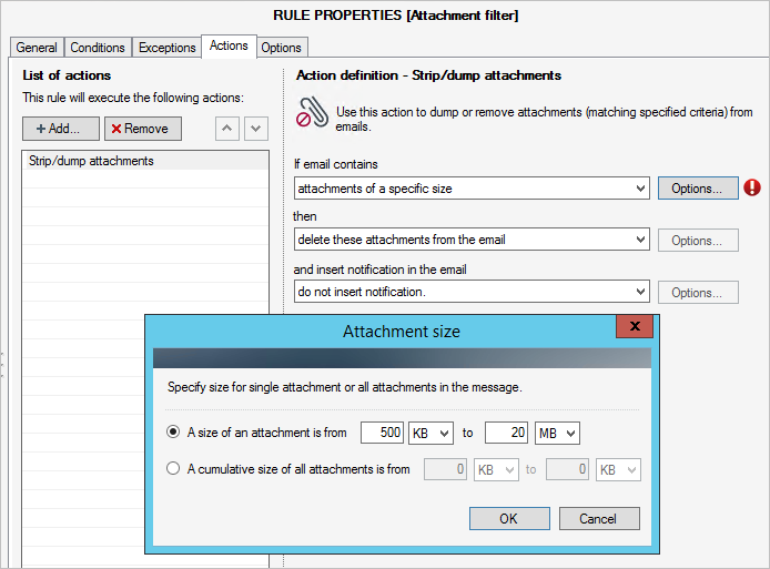 Attachment filter in CodeTwo Exchange Rules PRO