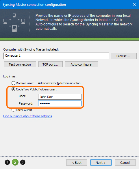 Log in to the Syncing Master with already created user's credentials.