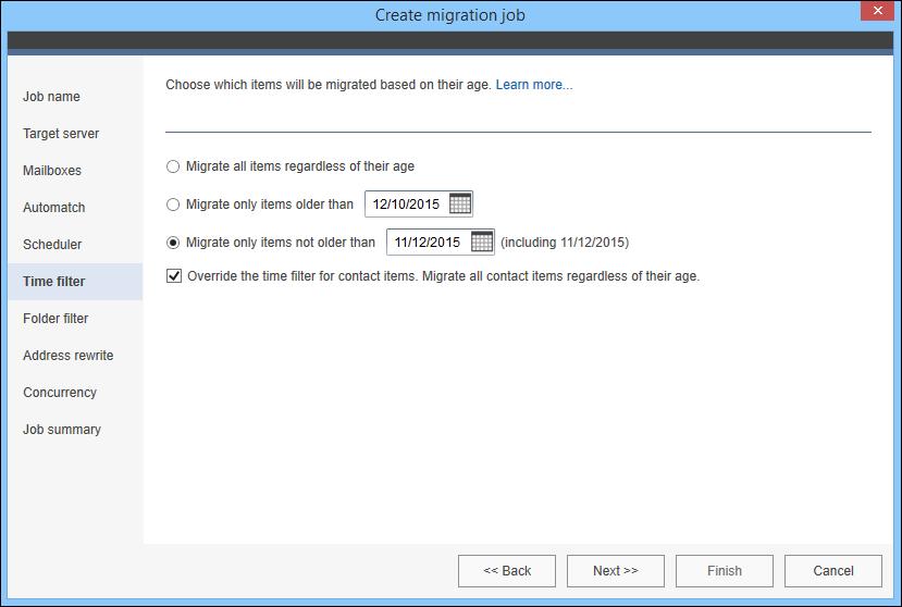 Time filter configuration for migration job