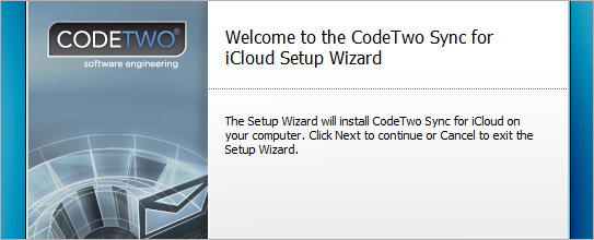 Welcome to the CodeTwo Sync for iCloud Setup Wizard