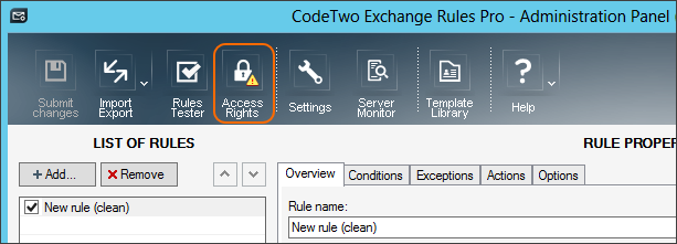 The Access Rights button in the Administration Panel of CodeTwo Exchange Rules Pro