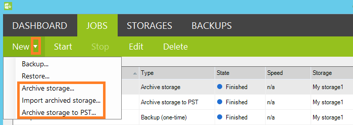 New features under the Jobs tab: Archive storage, Import archived storage and archive storge to PST.