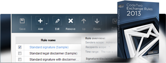 Emails signatures and disclaimers on Exchange 2013