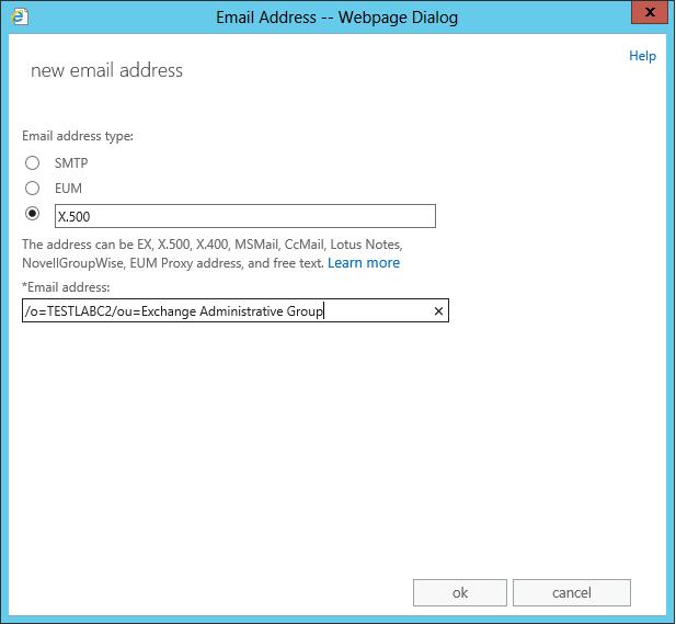 Adding the old legacyExchangeDN address