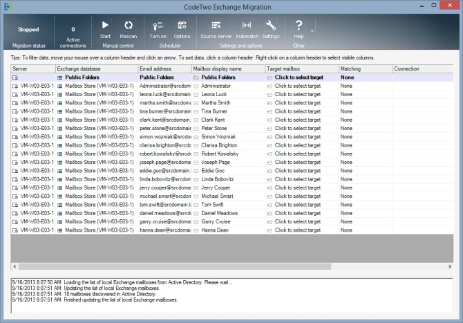 CodeTwo Exchange Migration - main window
