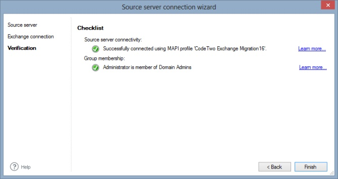 Source server connection wizard