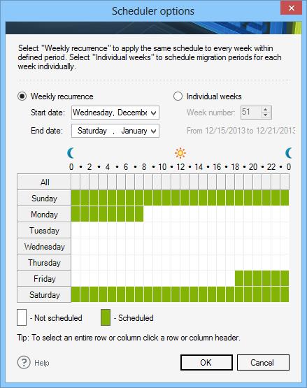 Scheduling the Exchange Server migration