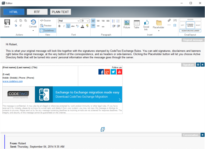 Setting up email signatures in HTML editor