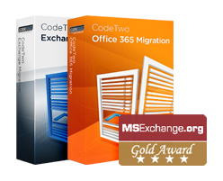 Gold award for CodeTwo Migration tools