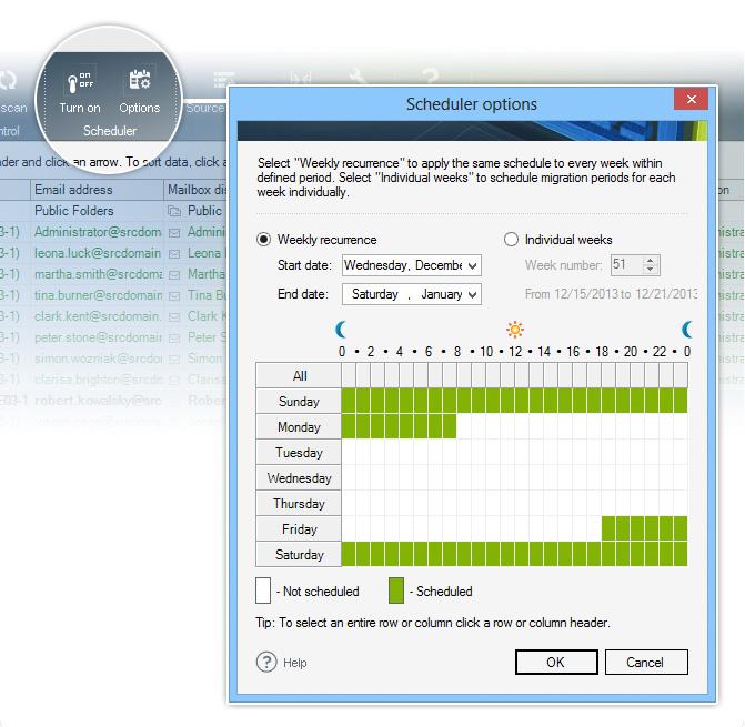 Migration scheduler - CodeTwo migration tools