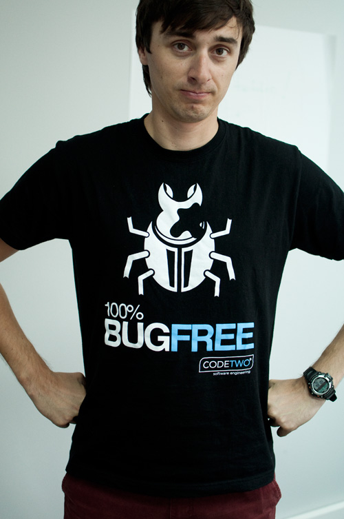 CodeTwo's famous 100% Bug Free t-shirt