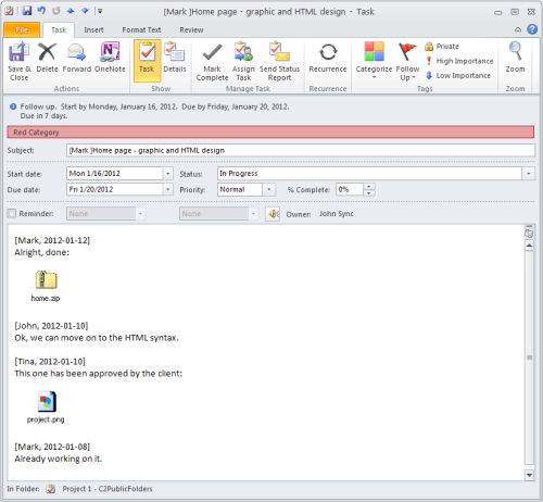 Task history with files and documents