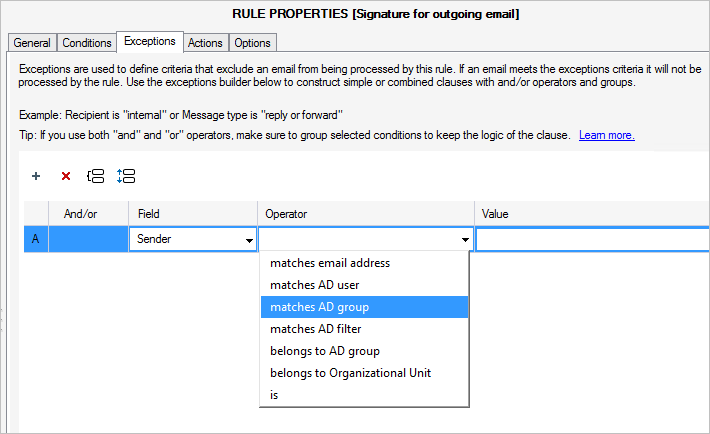 New condition in CodeTwo Exchange Rules - Sender or Recipient matches AD group.