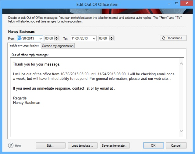 Central Management Of Recurring Out Of Office Messages In