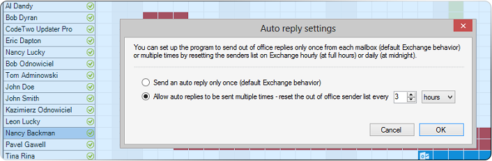 Reset count of out of office replies per recipient in Exchange and Office 365
