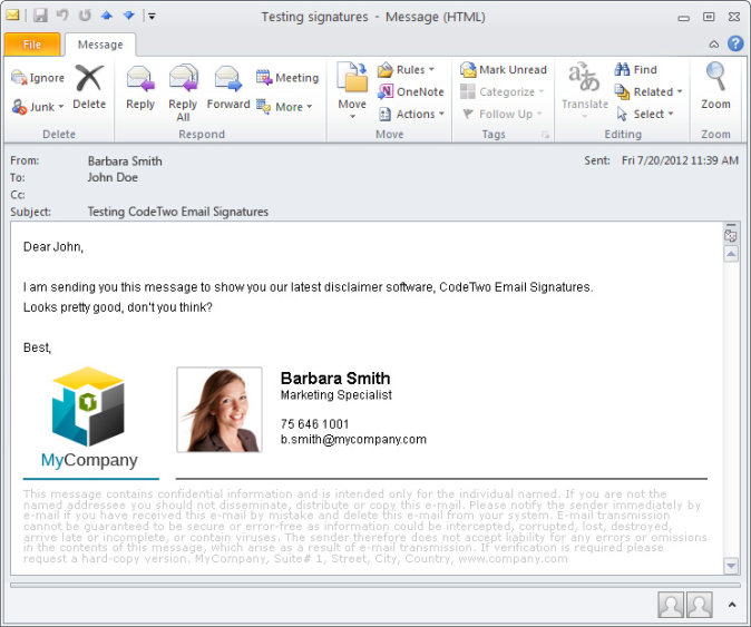 Email signature displayed under the message body.