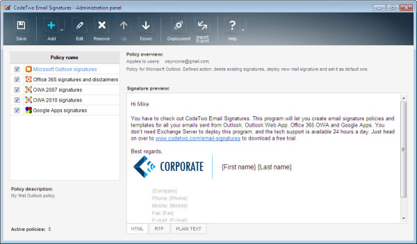 CodeTwo Email Signatures - main window