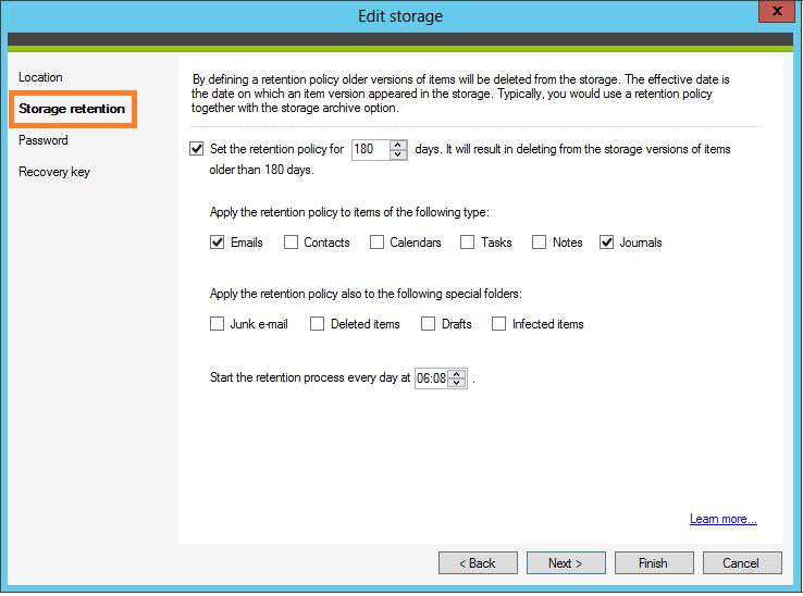 Configure a storage retention policy