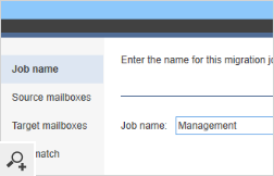 This is the first step in the migration job wizard. Here you will i.e. choose the server connection, select users for migration or set up the scheduler.