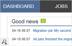 This is the main window of the program's dashboard. Under this tab you will find more information about the job migration status, check what the good or bad news about the migration process is or configure both the source and target server connection.
