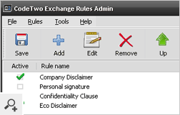The main window of CodeTwo Exchange Rules 2003 with a few signatures and disclaimers defined.