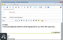 Centrally managed email signature in Office 365. The signature is added centrally for all users by CodeTwo Email Signatures for Email Clients.