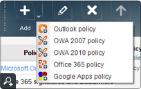 Adding a new email policy for Microsoft Outlook, Outlook Web Access, Office 365 and Google Apps mail.