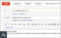 Global signature and disclaimer added to email composed on an Google Apps for Business account. You can set up an auto-signature for hundreds or even thousands of users.