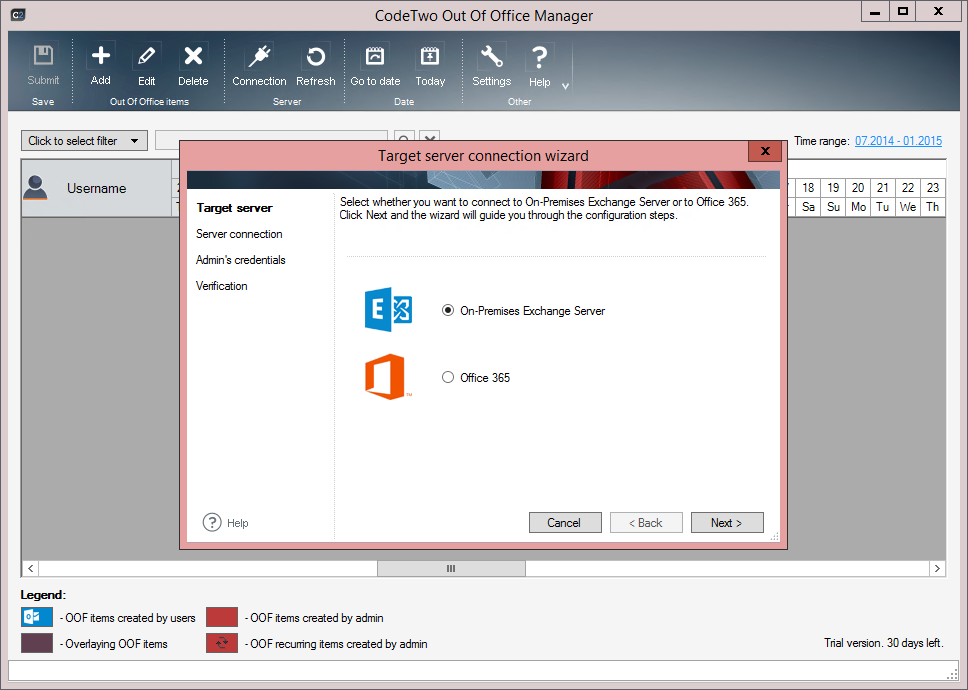 Connecting to target server | CodeTwo Out of Office ...