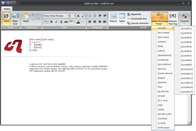Editor in CodeTwo Exchange Rules 2007 2.x