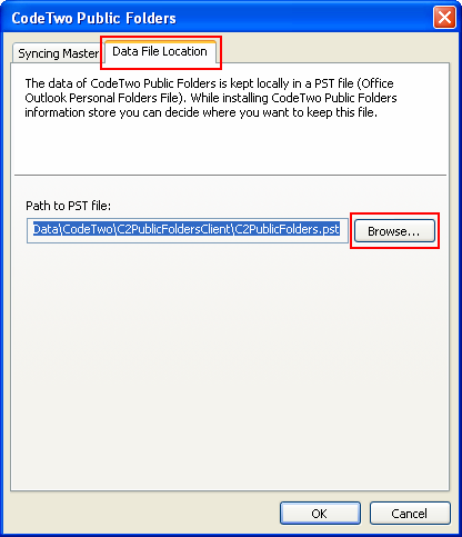 Changing the location of PST file