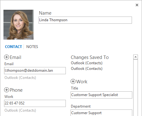 A GAL photo displayed in a contact in Outlook