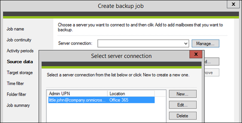 Backup - Confirm connection to O365 big.