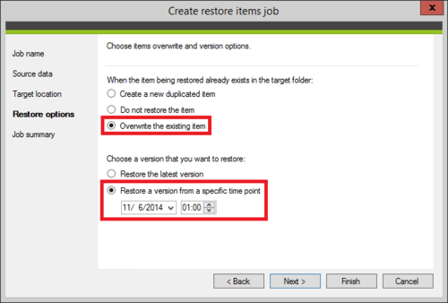 Backup - Items' restore options defined.