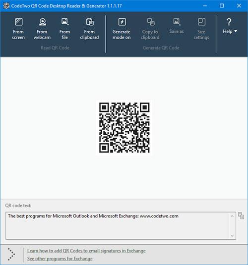 CodeTwo QR Code Desktop Reader screenshot