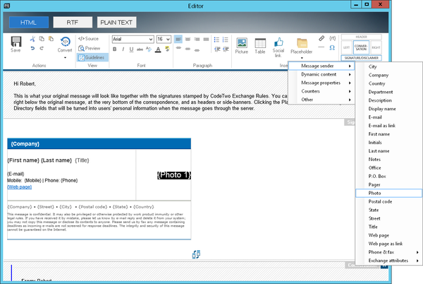 CodeTwo Exchange Rules HTML Editor lets you add Active Directory photos to email signatures