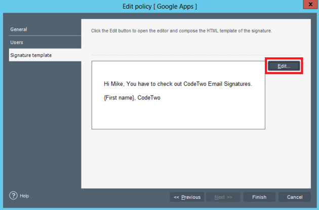 Google apps policy for Google apps email templates