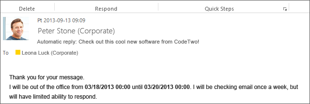 Codetwo Out Of Office Manager Examples Of Use