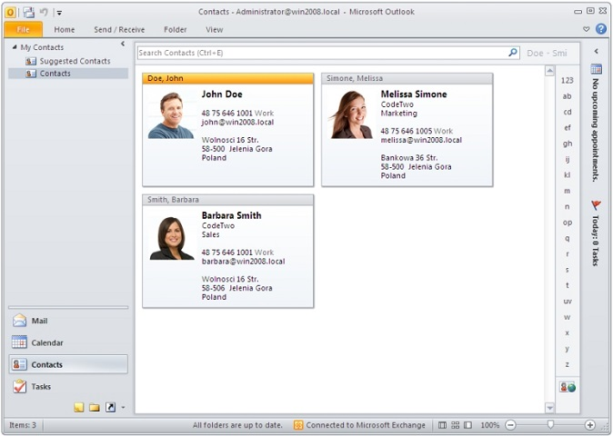 Active Directory photos displayed in contact cards in Outlook 2010