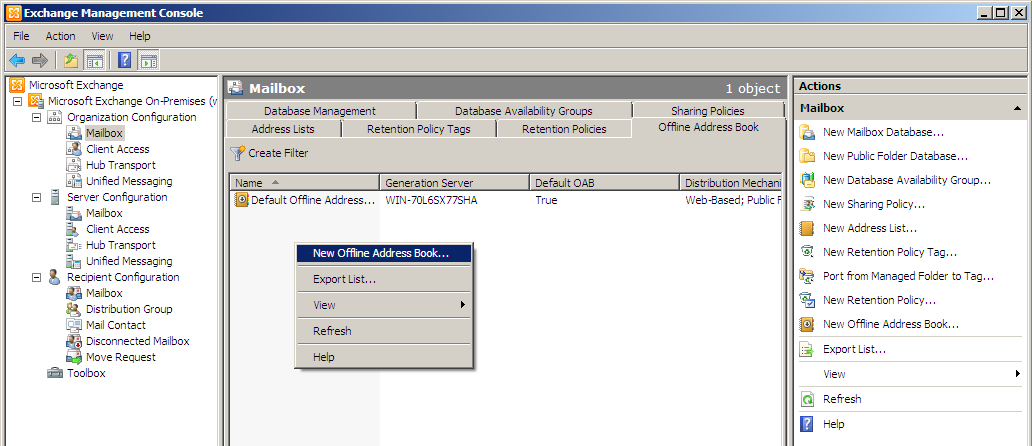 how to create a new offline address book in exchange server 2010