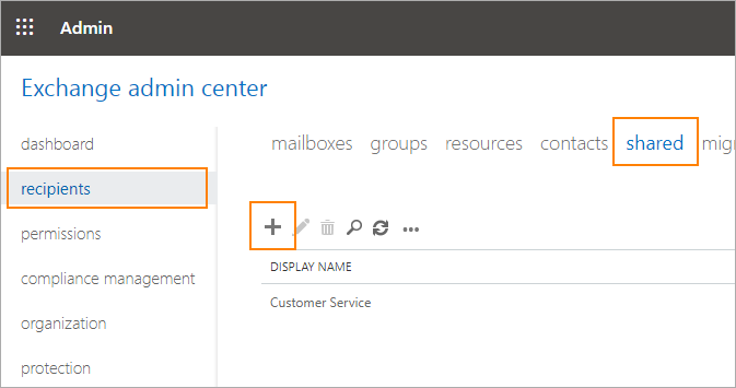 Exchange admin center - recipients tab