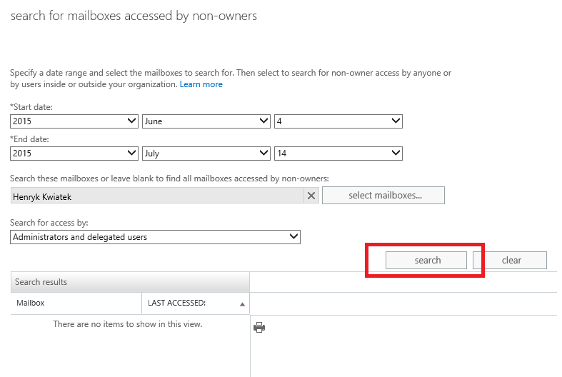 Exchange admin center: Searching audit logs